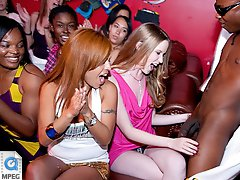 3 movies - Horny party girls share a huge cock