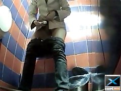 3 movies - Girls exposed to spy cam in public loo